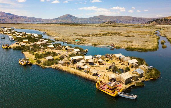 Peru Aerial View Of Floating Islands Of Uros At Lake Titicaca Shutterstock 1080649595