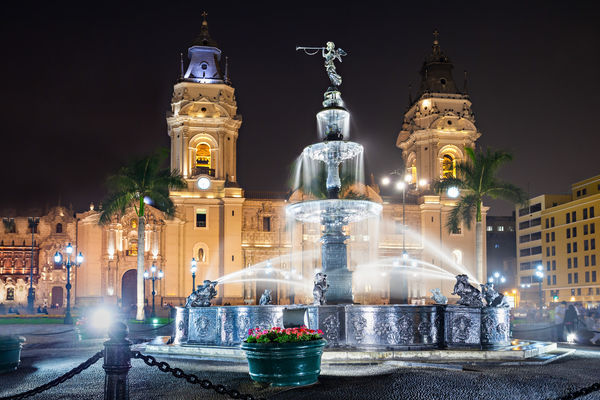 Peru The Basilica Cathedral Of Lima At Night It Is A Roman Catholic Cathedral Located In The Plaza Mayor In Lima Perushutterstock 421501951