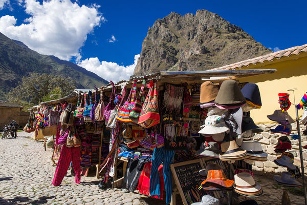 Peru Display Of Traditional Souvenirs At The Market In Ollantaytambo In Urubamba Valley The Sacred Valley Near Cuzco And Machu Picchu In Peru South Shutterstock 1136629595