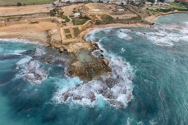 Caesarea Amphitheater And Roman Theater Israel Aerial View