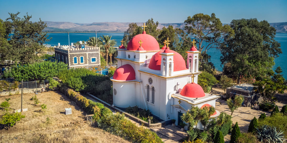 Shutterstock 1283101969 Capernaum church shot with drone from high point at Tiberias Israel